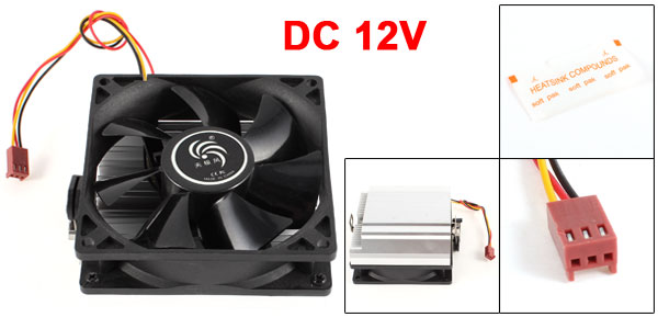 Silver Tone Black CPU Cooling Fan Cooler Heatsink for AMD 754/939/940/5800