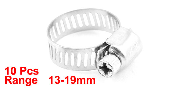 10 Pcs Silver Tone Metallic 13mm to 19mm Pipes Hose Clamp Clip