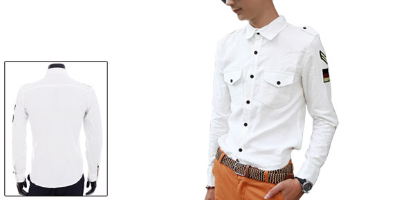 Men Point Collar Long Sleeve Autumn Winter Shirt White M