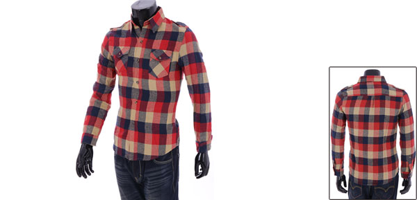 Reddish Orange Flap-patch Pockets Shirttail Hem Casual Man Shirt S