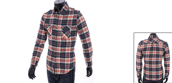 Man Long Sleeve Button Closure Checked Pattern Muticolor Shirt M