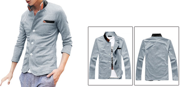 Men Splice Autumn Leisure Long Sleeve Single Breasted Gray Jacket S