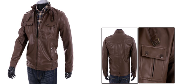 Men's Fashionable Zip Up Long Sleeves Brown Faux Leather Jacket S