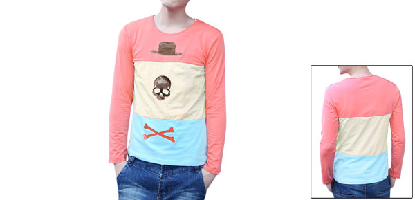 Man Pink Round Neck Hat Skull Bone Pattern Long Sleeved Slim Shirt S