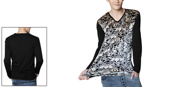 Men Skulls Design Long Sleeves V Neck Black Shirt S