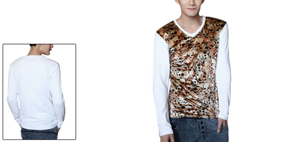 Men V Neck Long Sleeves Skulls Pattern Splicing White Shirt S