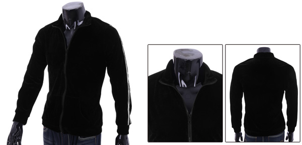 Men's Convertible Collar Soft Casual Black Velvet Coat S