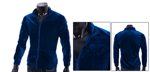 Man's Casual Convertible Collar Sport Blue Velvet Coat