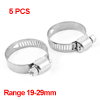 5 Pcs Silver Tone Metallic 19mm to 29mm Pipes Hose Clamp Clip