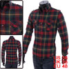 Man Button Front Pocket Patch Long-sleeved Checked Pattern Muticolor Shirt M