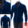 Man\'s Casual Convertible Collar Sport Blue Velvet Coat