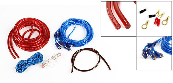 Auto Car Platic Amplifier RCA Audio Speaker Wiring Cable Wires Kit w Fuse Holder