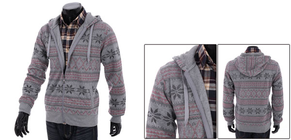 Man's Zip Up Light Gray Novelty Prints Fashion Hooded Coat M
