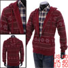 Men's Zip Up Elastic Cuff Red Novelty Prints Hooded Coat M