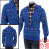 Men's Casual Zip Up Novelty Printing Leisure Hooded Coat Blue M