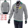 Men Chic Wing Pattern Front Light Gray Full Zip-Up Jacket Coat S