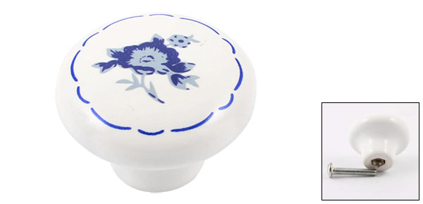 Cabinet Drawer Furniture Door 32mm Dia Blue Flower Pattern Ceramic Knob