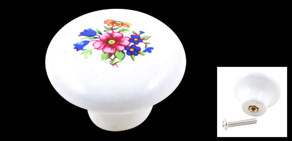 32mm Diameter Cabinet Door Drawer Floral Print Ceramic Knob Pull