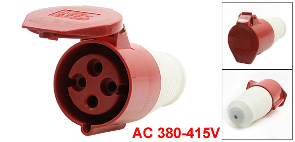 AC 380-415V 32A Water Proof IEC309-2 3P+E Industrial Jack Socket Red