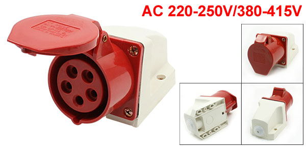 AC 380-415V 16A IP67 3P+E+N IEC309-2 Panel Mounted Industrial Socket Red