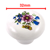 Cabinet Furniture Door 38mm Dia Flower Ceramic Knob Handle w Screw