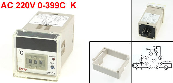 SW-C4 48 x 48mm Panel AC 220V 0-399C K Type Temperature Temp Controller