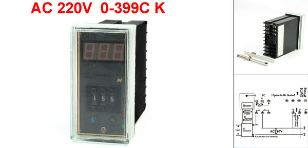 XMTE-2301 95 x 43mm Panel AC 220V 0-399C K Type Temperature Temp Controller