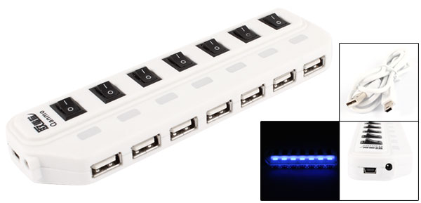 Blue LED I/O Switch 480Mbps Hi-speed 7 Ports USB2.0 Hub for PC Computer