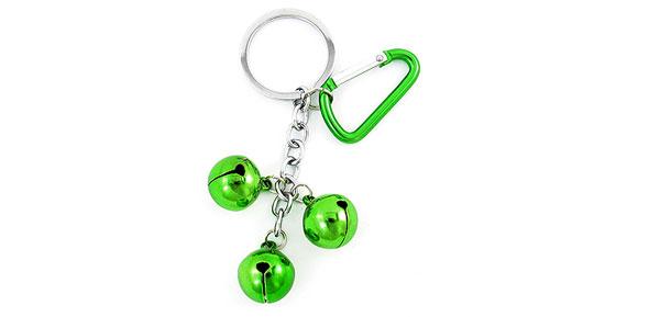 Green Silver Tone Aluminum Carabiner Hook 3 Bells Detail Split Ring Keychain