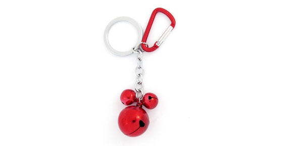 Spring Loaded Gate Carabiner Red 3 Bells Pendant Key Chain Keys Holder