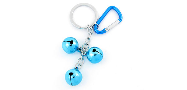 Blue Metal 3 Bells Dangling Carabiner Key Ring Keychain Backpack Ornament