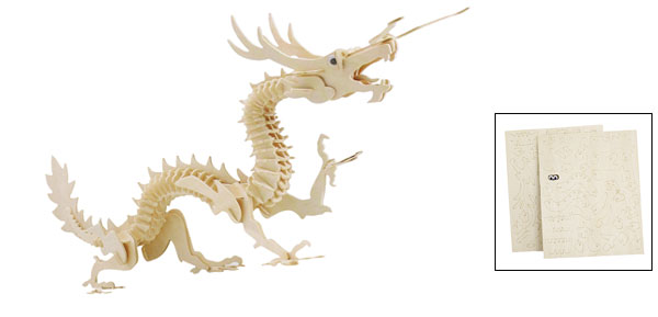 House Desk Ornament 3D Wood Dragon Designed Model Intelligence Puzzle Toy Beige