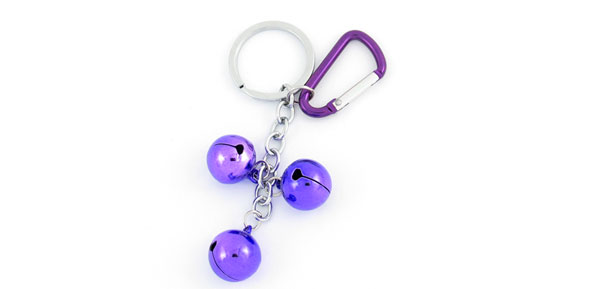 Spring Loaded Carabiner Purple 3 Bells Pendant Keyring Keychain Purse Decor
