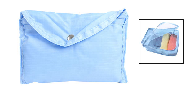 Light Blue Zip Up Hollow Out Storage Bag Holder Organizer