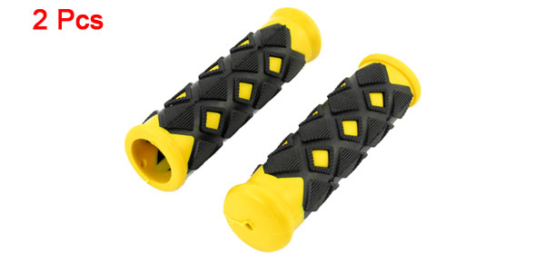 Pair Replacement Bicycle Bikes Black Yellow Antislip Handlebar Handgrip