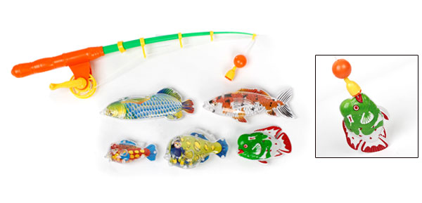 Child Orange Green Plastic Magnetic Tail 5 in 1 Fish Fishing Game Toy Set