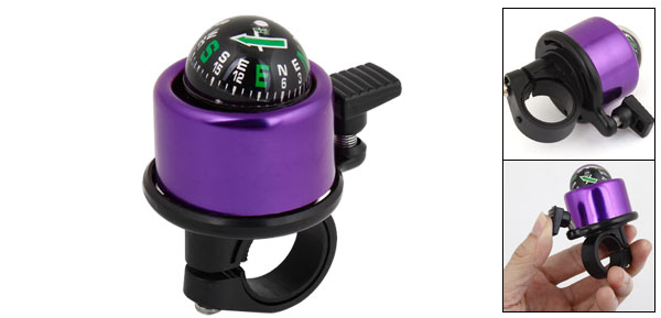 Bike Bicycle Purple Black Metallic Ring Alarm Bell Compass Horn