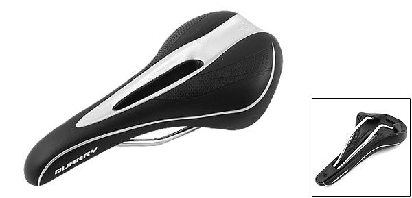 Replacement Faux Leather Hollow Out Cycling Bike Saddle Silver Tone Black