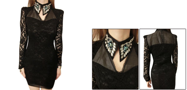 Ladies Rhinestones Decor Point Collar Long Sleeve Black Lace Mini Dress XS