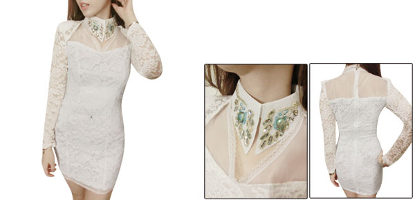 Pullover Rhinestones Decor White Semi-Sheer Lace Mini Dress for Lady XS