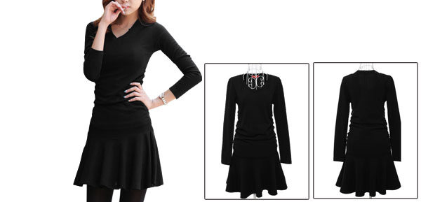 Woman Pure Black Color Ruched Side Detail Spring Autumn Mini Dress XS