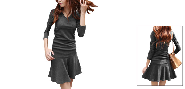 Ladies Chic V Neck Long Sleeve Dark Gray Ruched Detail Mini Dress XS