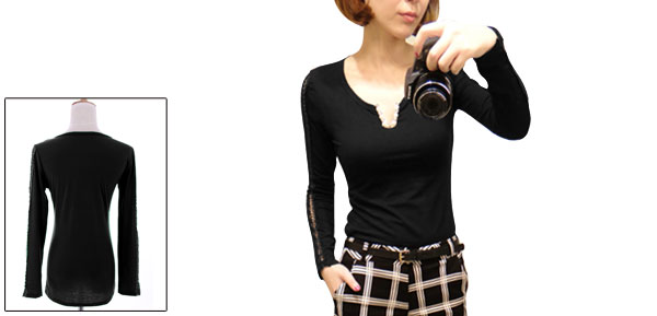 Women Split Neck Long Sleeve Crochet Patchwork Top Shirt Black XS