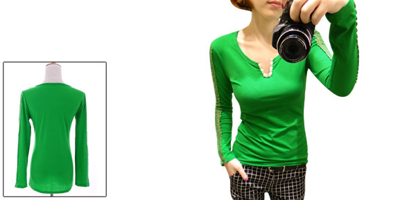 Women Split Neck Pullover Beads Detail Stretchy Top Shirt Green XS