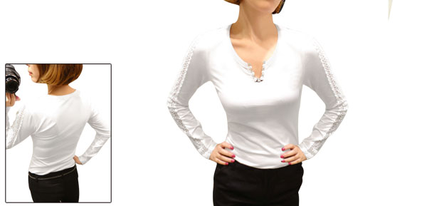 Women Pullover Long Sleeve Rhinestone Embellished Top Shirt White XS