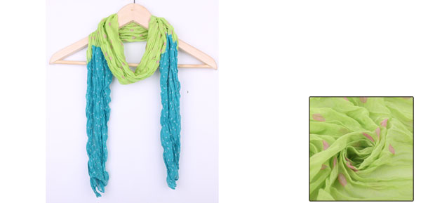 Pretty Light Green Sky Blue Colorblock Ruched Soft Scarf for Kids