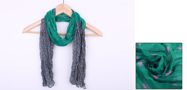 Boys Girls Green Gray Colorblock Ruched Soft Long Scarf