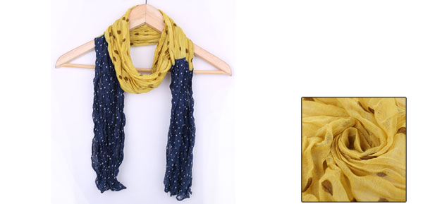 Yellow Dark Blue Colorblock Dots Pattern Long Scarf for Kids