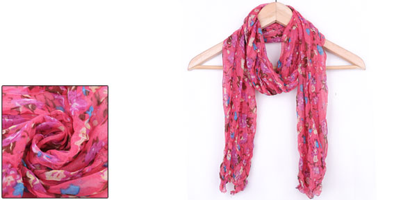 Girls Pleated Stylish Winter Wearing Scarf Fuchsia Purple