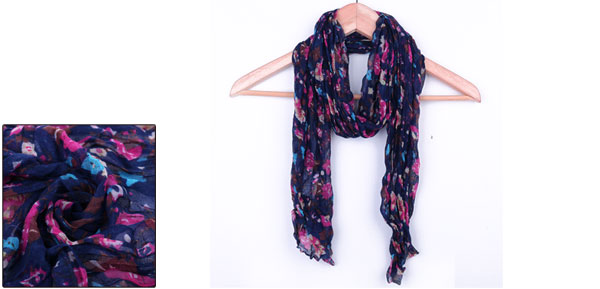 Girls Semi Sheer Ruched Design Stylish Scarf Navy Blue Fuchsia